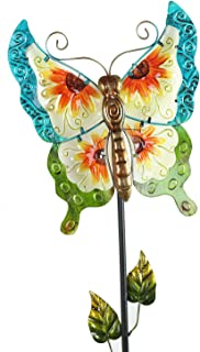 A Ting Solar Garden Stake Metal Decor Stick for Outdoor Lawn Yard Patio Decoration,Butterfly