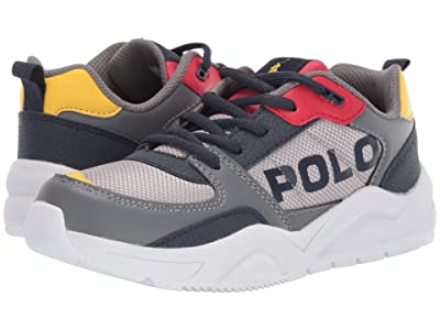 Polo Ralph Lauren Kids Chaning (Big Kid) (Grey Mesh/Tumbled/Navy/Red/Yellow/Yellow PP) Kids Shoes
