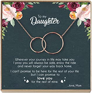 DOPTIKA Mother Daughter Necklace - Sterling Silver Two Interlocking Infinity Double Circles, Birthday Gifts for Daughter from Mom - Mom Daughter Jewelry Gift