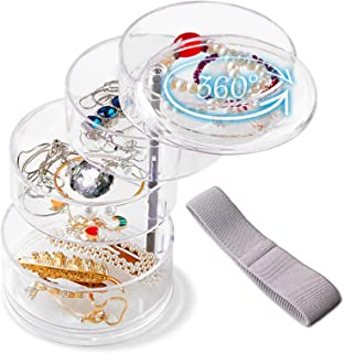 Kalevel Hair Accessory Organizer 4 Layer Rotating Jewelry Storage Box for Women Girls Earrings Necklaces Watches with Gift...