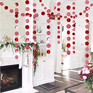 Glitter Red Circle Dots Garland Kit for Xmas Party Hanging Decoration/Streamers/Flag/Banner/Christmas Tree Garlands for Chinese New Year Celebration/Birthday/Wedding/Baby Shower/Event Holiday Decor
