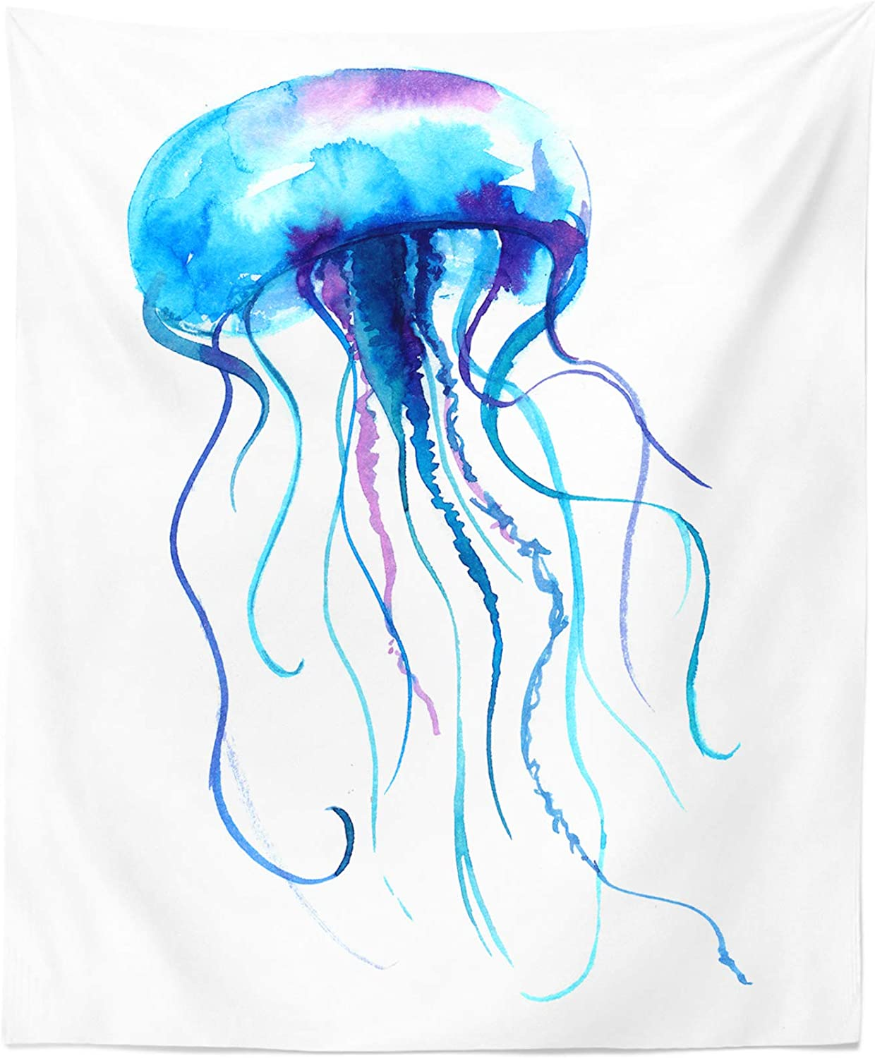 Jellyfish Watercolor Tapestry San Jose New popularity Mall - Jelly Wall Hanging Décor Ar Fish