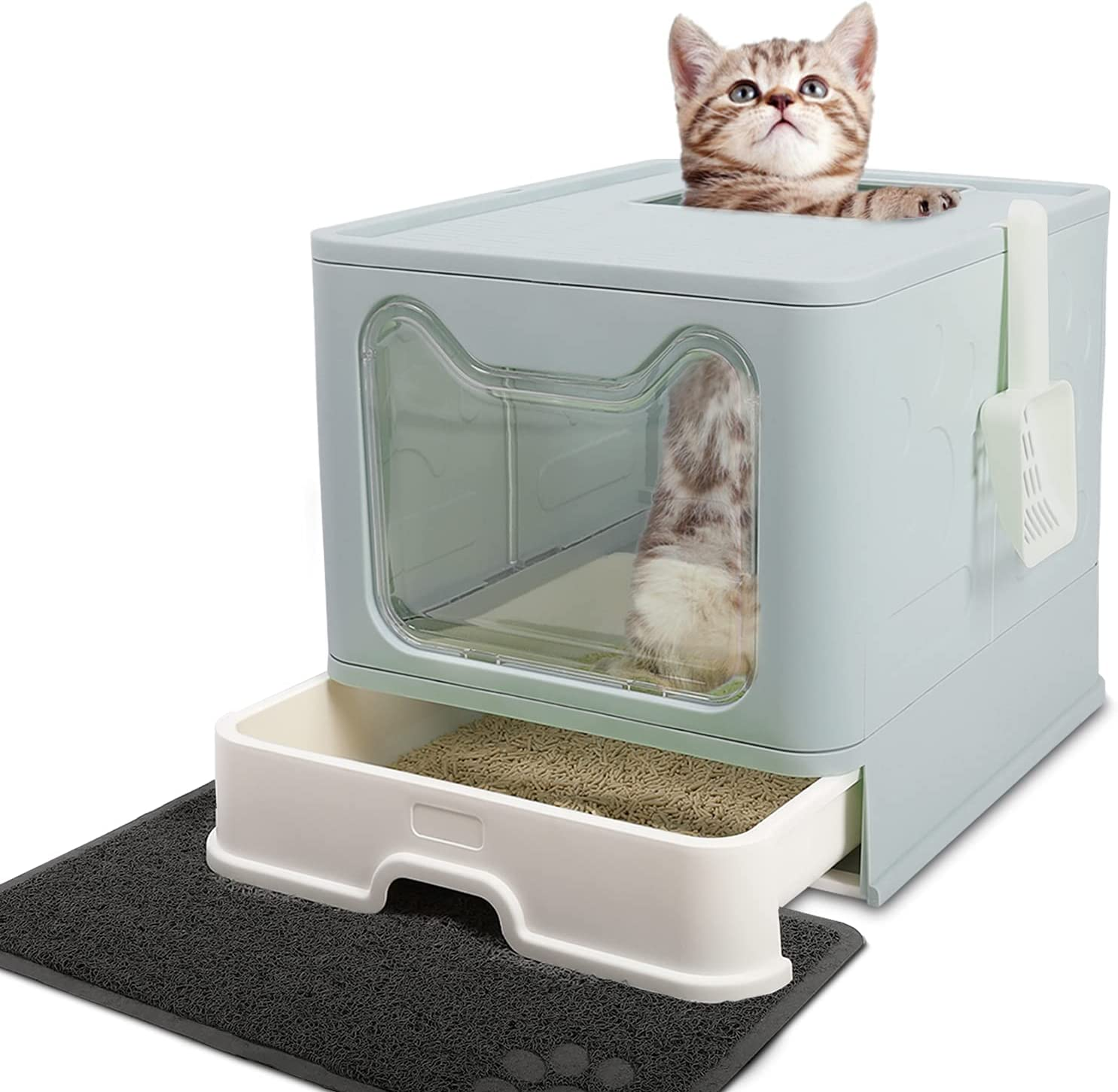 Foldable Cat Litter Under blast sales Box shop with Large Lid Covered Extra