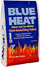 Blue Heat Snow and Ice Melter Rock Salt - 50lbs Bag - Heat Generating Pellets - Concrete and Surface Safe - Industrial Grade - Home and Commercial Use - Blue Tint - Works in -25° F