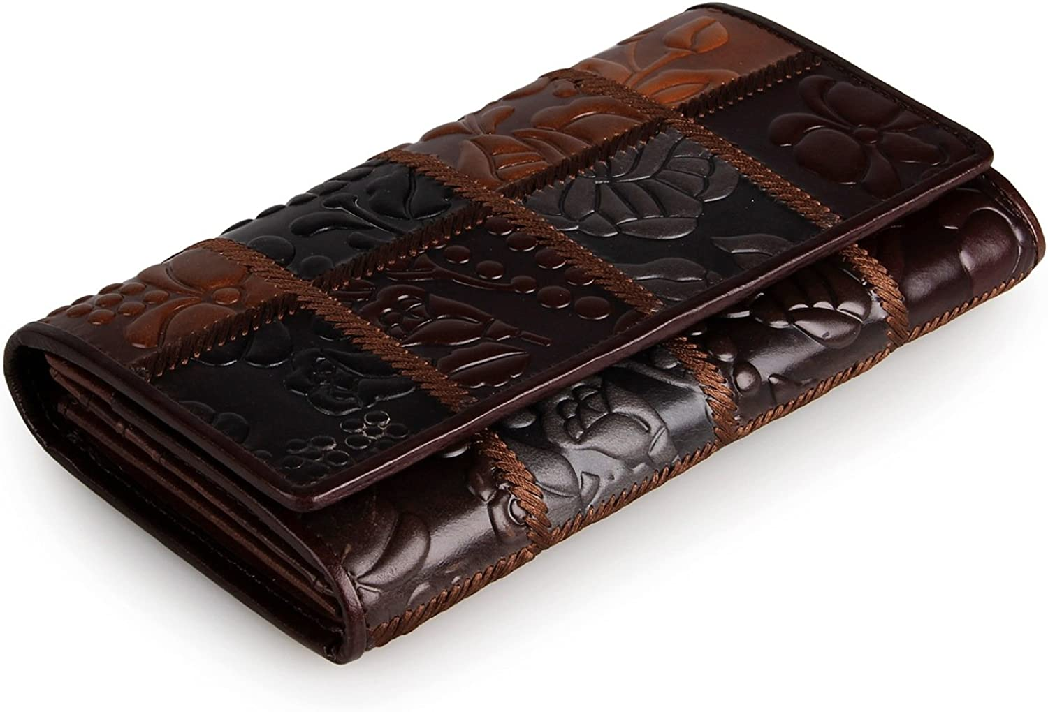 Elfish Genuine Leather MultiFunction Trifold Wallet For Ladies Embossed