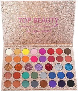 40 Paleta de sombras de ojos de colores brillantes Mezcla de brillo y brillo Sombra de ojos Brillo Metálico Impermeable Polvo liso Paletas de maquillaje de ojos de artista brillante natural