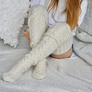 Nuokix Gothic Women Knit Cotton Winter Stocking Over Knee Long Boot Thigh-High Warm Sexy Warm Stockings Women (Color : 1)