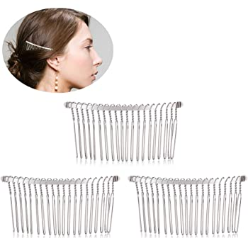 TinkSky 3pcs 7.8cm 20 Teeth Fancy DIY Metal Wire Hair Clip Combs Bridal Wedding Veil Combs (Silver)