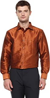 Khoday Williams Men's Dark Gold Poly Silk Solid Shirt
