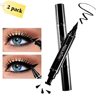 Eyeliner, Winged Eyeliner, 2 Pens Double Sided, Matte Black Liquid Eyeliner, Waterproof, Smudge-Proof, For Perfect Wings & Cat Eyes by WONTECHMI, The Best Gift