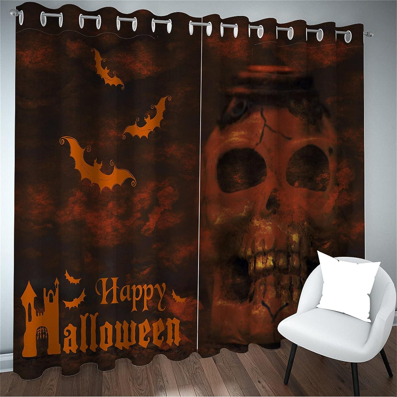 FACWAWF Impresión 3D Patrón De Bruja De Halloween Cortina De Alto Sombreado Insonorizado Murciélago Fantasma Patrón Cortina Sala De Estar Dormitorio Balcón Decoración Cortina 2xW140xH245cm