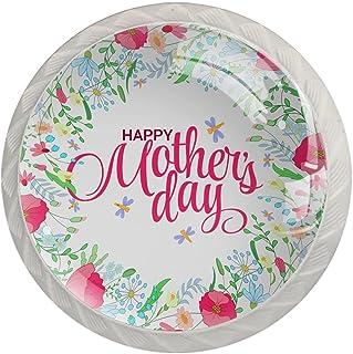 Boutons De Tiroir Verre Cristal Rond Poignées d'armoires tirer 4 pièces,Bonne fête des mères