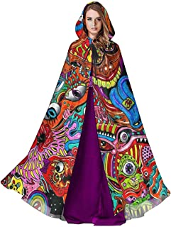 Unisex Hooded Cloak Psychedelic LSD Acid Art Medieval Cape Robe for Halloween Christmas Cosplay Party Costume Supplies