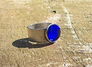 Recycled Vintage Noxzema Jar Glass Gem Adjustable Ring