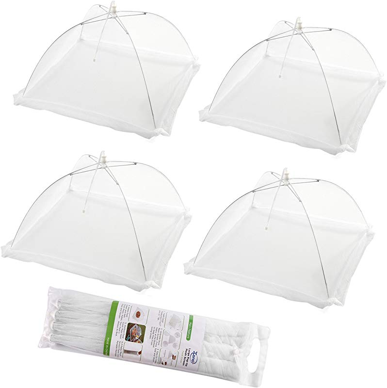 Set Of 4 Large Pop Up Mesh Screen Food Cover Tents Keep Out Flies Bugs Mosquitos Reusable