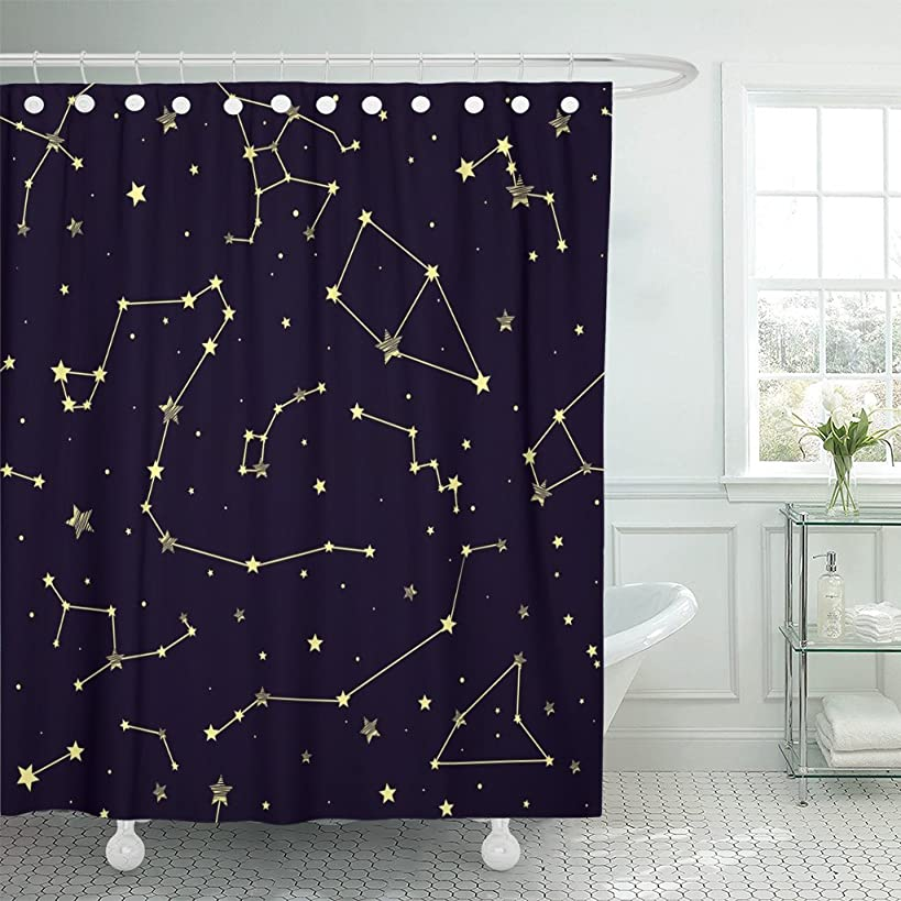Emvency Shower Curtain Black Abstract with Constellations Pattern Stars Astrology Astronomy Waterproof Polyester Fabric 72 x 72 inches Set with Hooks