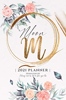 Moon 2021 Planner: Personalized Name Pocket Size Organizer with Initial Monogram Letter. Perfect Gifts for Girls and Women...