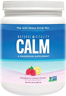 Natural Vitality Calm, The Anti-Stress Drink Mix, Magnesium Supplement Powder, Raspberry Lemon - 20 ounce