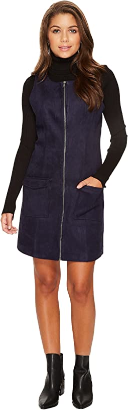 Havens Faux Suede Scuba Zip Front Dress
