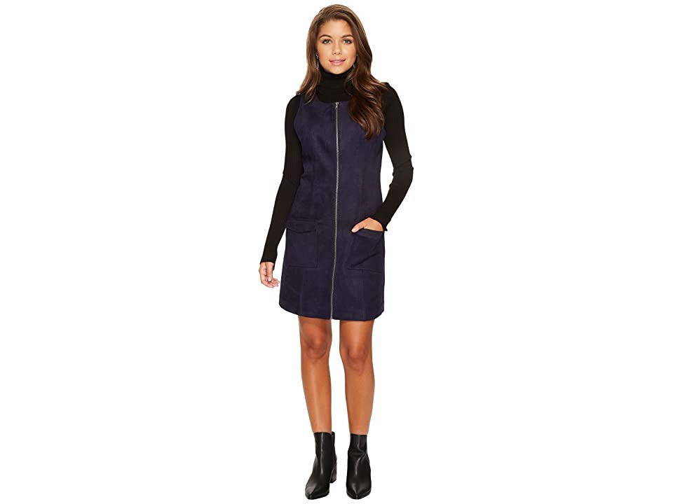 Jack by BB Dakota Havens Faux Suede Scuba Zip Front Dress (Deep Navy) Women