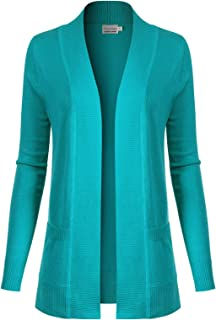 Design by Olivia Women's Open Front Long Sleeve Classic Knit Cardigan - Blue - 2X