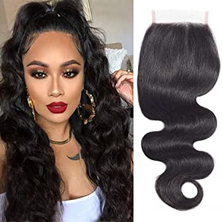 Brazilian Body Wave Human Hair 4x4 Lace Closure 14inch Free Part 150 Density Unprocessed Human Hair Closure Double Weft Top Swiss Lace Closure(14