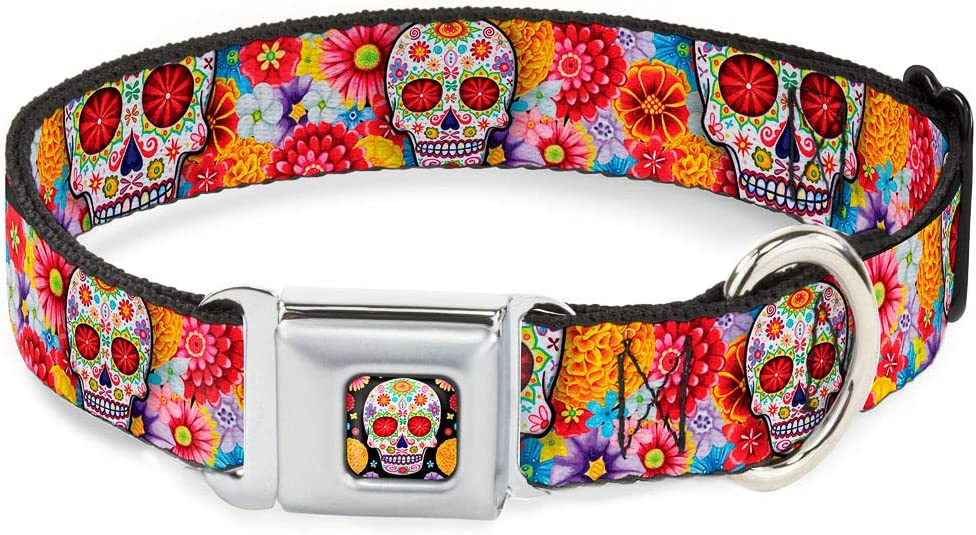 Buckle-Down Max 66% OFF Dog Collar Seatbelt Buckle Starburst Special Campaign Sugar Skull Whi