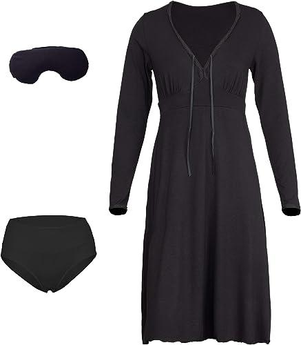 757baeec8c75f3 Nachtkleid aus Bio Bambus; Damen Langarm-Nachthemd; Klassisch Schlafkleid  für Frauen; Made IN Brazilian Unterw sche aus Bambus & Bambus Schlafmaske  mit ...