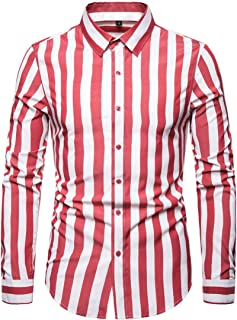 AOWOFS Men's Casual Striped Shirt Slim Fashion Cotton Long Sleeve