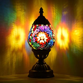 Marrakech Turkish Table Lamp Christmas Decorations Gift Mosaic Glass Egg Shaped Bedside Lamp Moroccan Lantern Desk Night Light Lamps for Living Room Bedroom