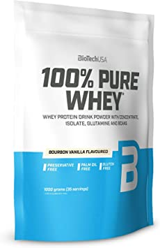 BioTechUSA 100% Pure Whey Complejo de proteína de suero, con aminoácidos añadidos y edulcorantes, sin conservantes, 454 g, Arroz con leche