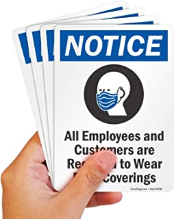 """SmartSign """"Notice - All Employees and Customers Required to Wear Face Coverings"""" Label 