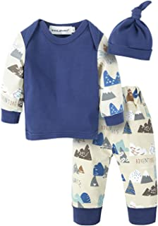 BIG ELEPHANT 3 Pieces Baby Boys Thin Long Sleeve Pajama Sets with Hat Suit for Baby 0-24 Months
