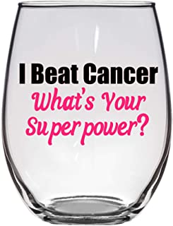 I Beat Cancer- What is Your Superpower? Large 21 Oz Wine Glass, Cancer Gift, Cancer Sucks, Fuck Cancer