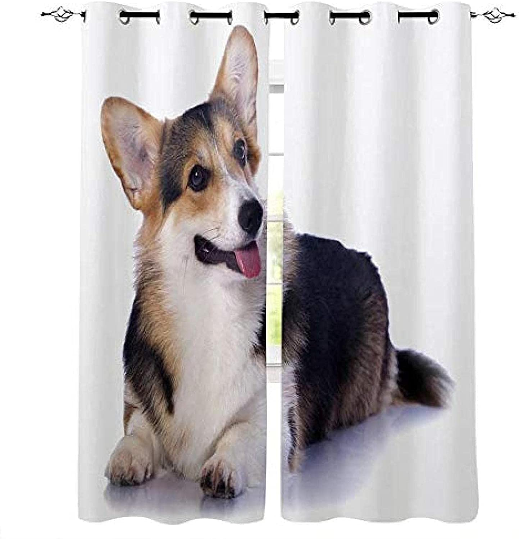 XKSJWY Outlet SALE Curtains for Living Room - 3D Inch Some reservation Cute 104X95 Dog Animal