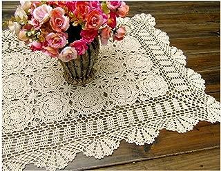 Laivigo Handmade Crochet Lace Rectangle Lucky Flower Table Cloth Runner Doilies Doily,Beige,20x35 Inch