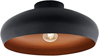 EGLO Lampe de Plafond Mogano, Plafonnier à Flamme Industriel, Vintage, Moderne en Acier, Lampe de Salon Noire, Cuivre, Lam...