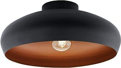 EGLO Plafondlamp Mogano, 1-pits plafondlamp industrieel, vintage, modern staal, Kleur: koper, zwart, woonkamer, keuken, ha...