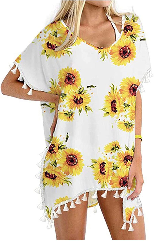 Beppter Women's Boho Crochet Chiffon Tassel Swimsuit Beach Bathing Suit Cover Ups for Swimwear Bathing Suit