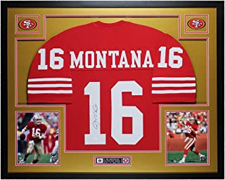 Joe Montana Autographed Red 49ers Jersey - Beautifully Matted and Framed - Hand Signed By Joe Montana and Certified Authentic by JSA COA - Includes Certificate of Authenticity