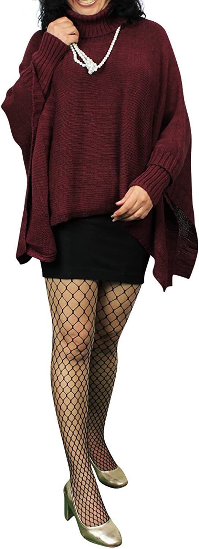 Glamexx24 Damen Strick-Poncho Pulli Winter Mantel Damen Pullover Top Jacken 6a7 Dunkel Rot