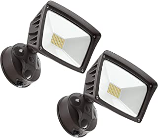 LEONLITE LED Outdoor Flood Light, Dusk-to-Dawn (Photocell Included), 3400lm, Waterproof Security Floodlight, 28W (220W Eqv.), DLC and ETL-Listed Exterior Lighting for Yard, 5000K Daylight, Pack of 2