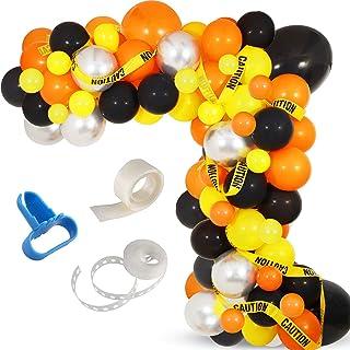 Construction Party Balloon Garland Kit, 120 Pack Orange Black Yellow Balloons Garland Kit for Construction Quarantine Birt...