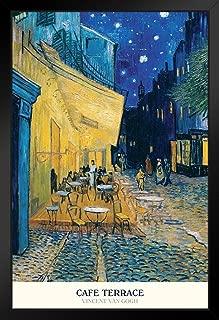 Pyramid America Vincent Van Gogh Cafe Terrace at Night Dutch Post Impressionist Painter Black Wood Framed Poster 14x20