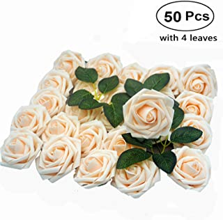 Lmeison Artificial Flowers Rose, 50pcs Real Looking Artificial Cream Roses Fake Foam Flower for Bridal Wedding Bouquets Centerpieces Baby Shower DIY Party Home Décor, 4 Leaves