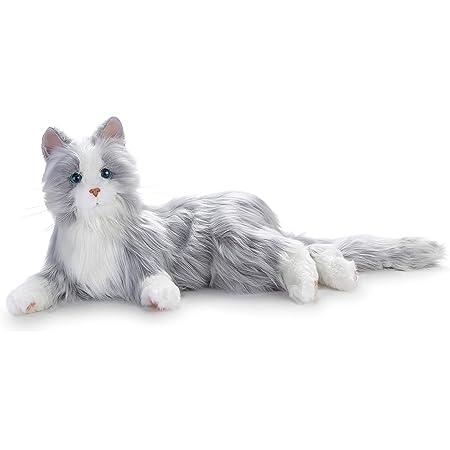 Memorable Pets すべてのロボットリクライニングシルバーグレーの猫のための喜びは、高齢者や介護者のための動物の治療を-動物のぬいぐるみ