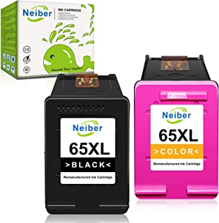 Neiber Remanufactured Ink Cartridge Replacement for HP 65XL 65 XL Black Tri-Color Combo Fit for Envy 5052 5055 5012 5010 D...