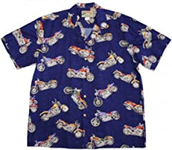 product image for Paradise Found Mens Maui Motorcycle Shirt Navy Blue S