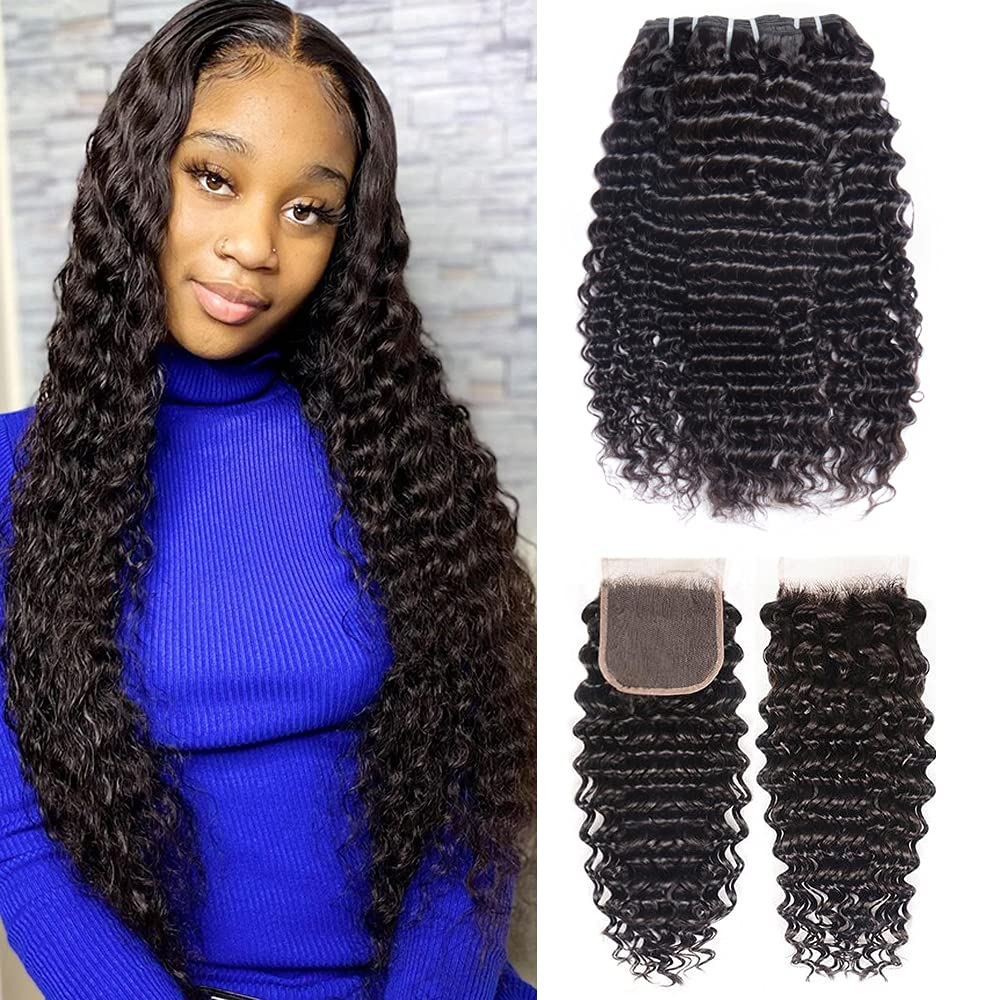 Brazilian Deep Bargain cheap Wave Virgin Hair Bundles Closure Part Free B with