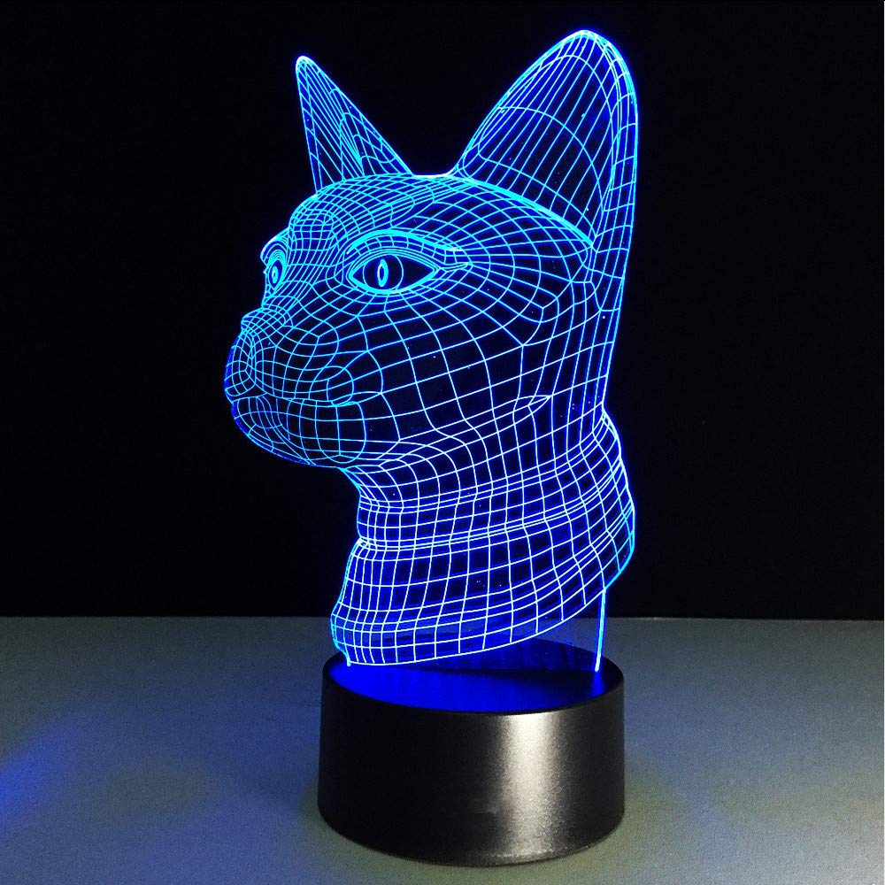 Shuangklei Colorful Max 62% OFF USB Cat Head 3D Light Lamp New color Led Night H Table
